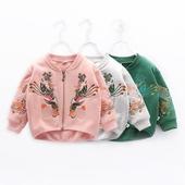 女童外套春秋2017新款韩版儿童外套男童长袖外套宝宝开衫刺绣上衣
