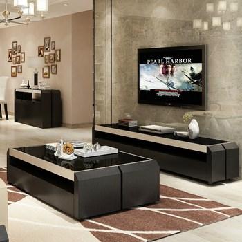 钢化玻璃茶几简约现代小户型客厅家具创意储物茶几电视柜组合套装