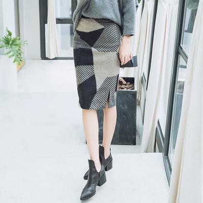 高腰毛呢裙子冬裙格子半身裙中长款裹裙包臀裙秋冬季呢子一步裙