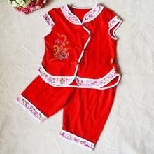 2岁 短裤 女童背心套装 宝宝纯棉红色衣服男婴儿短袖 夏季儿童唐装