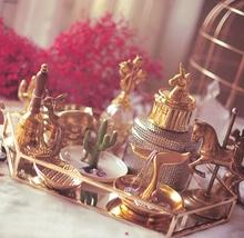 美式象牙白陶瓷盘金色鹿角戒指托珠宝首饰架 金色叶子珠宝盘