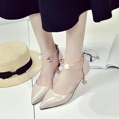 韩版百搭裸色珍珠脚环高跟鞋女夏2017新款尖头细跟凉鞋中空猫跟鞋