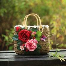 包邮夏季复古手提手拎女包花朵度假海边沙滩包草编包草包编织包包