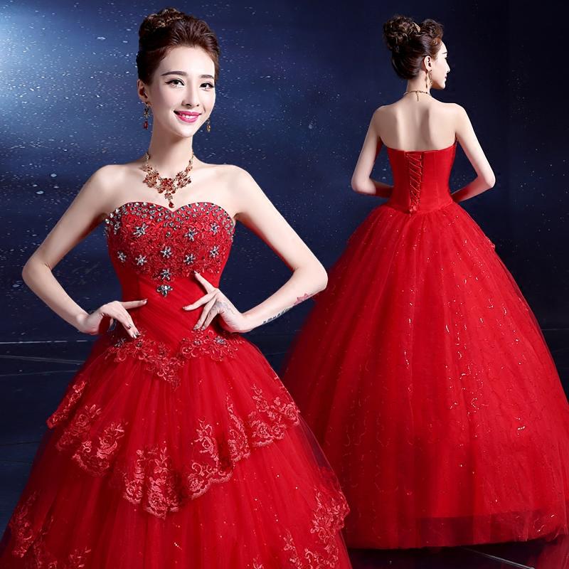 红色婚纱2017夏新款韩版新娘酒店婚礼公主蓬蓬裙大码修身礼服女装