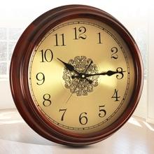 欧式复古时钟挂钟客厅挂表美式圆形简约家用艺术实木创意电波钟表