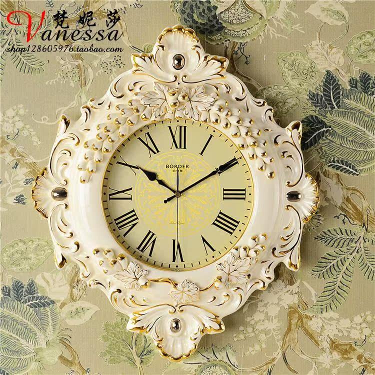 欧式挂钟客厅豪华欧式高档陶瓷复古创意圆形现代钟表