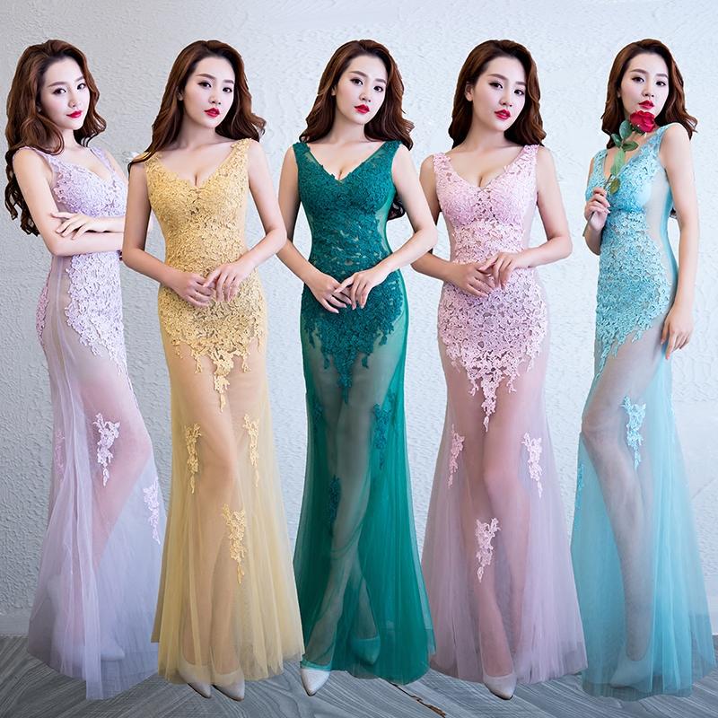 夜场晚礼服夜店性感KTV女装修身显瘦蕾丝透明桑拿技师长裙工作服