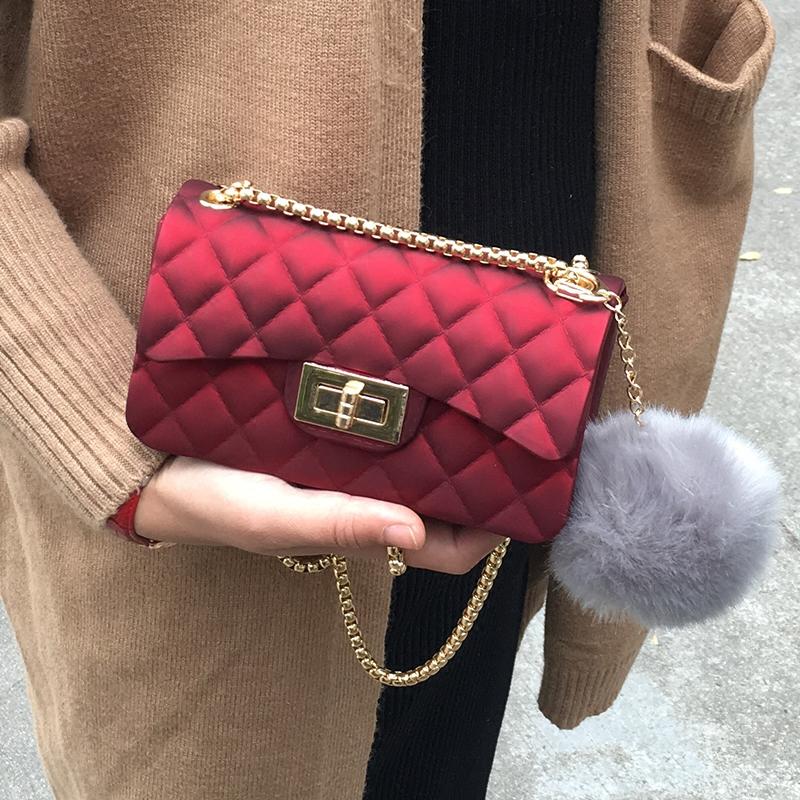 女包包2017新款韩版时尚小方包果冻包单肩斜跨菱格链条包迷你小包