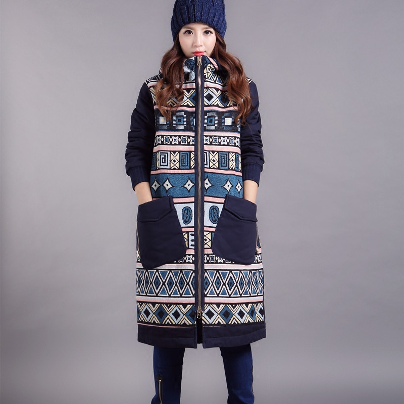 冬装丙丁宽松简洁设计条纹保暖民族长款棉衣加厚经典
