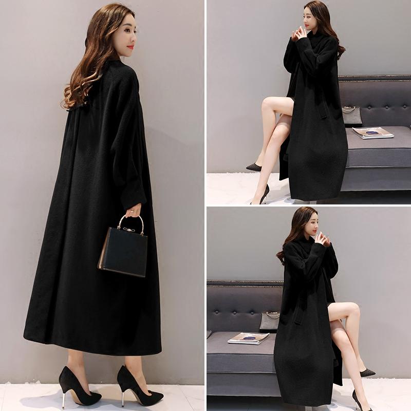 毛呢外套女2017秋冬季新款大码女装韩国宽松显瘦过膝长款呢子大衣