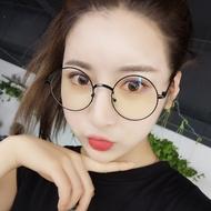 圆形框架眼镜男女款防蓝光眼镜近视眼睛韩版平面镜复古文艺小清新