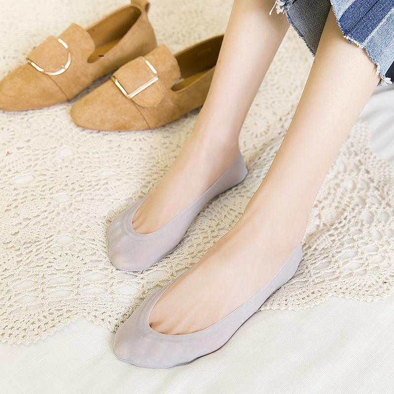 超淺口絲襪隱形防滑無痕冰硅膠夏季襪子純棉薄款低幫女船襪蕾絲