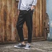 LMTNZD春季原创简约百搭男士休闲裤修身小脚哈伦裤显瘦黑色裤子男