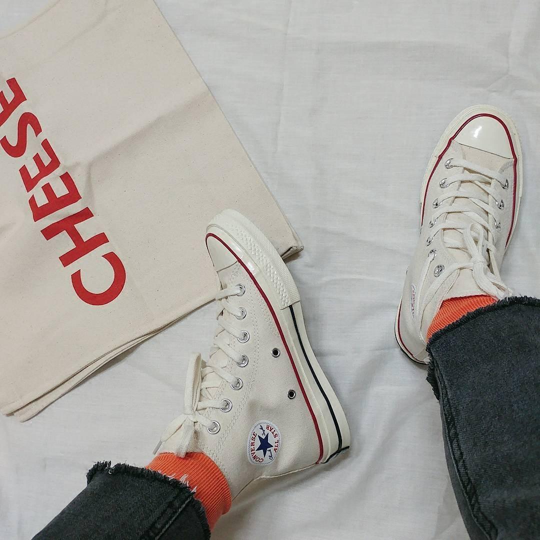 Convers 匡威1970s米白色三星标高帮 低帮帆布鞋144755c 142338c