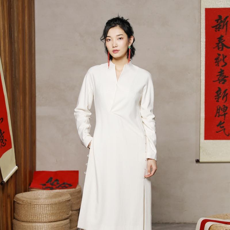 生姜原创羊毛呢立领宽松连衣裙秋冬改良中式复古长袖长衫11811504