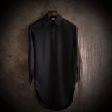 秋冬新款长袖衬衫男 青年韩版修身格子中长款男士休闲衬衣男装潮