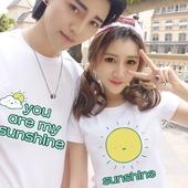 情侣装夏装2017新款短袖T恤创意爱情学生班服春装韩版显瘦上衣潮