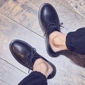 男鞋子潮鞋圆头黑色正装休闲皮鞋男夏季学生英伦鞋韩版潮流马丁鞋