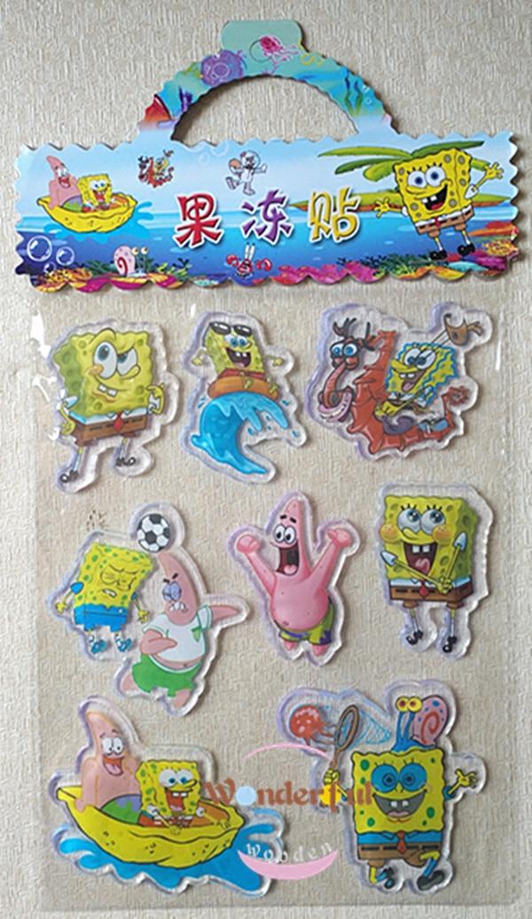 儿童卡通动漫贴纸果冻贴纸冰箱玻璃瓷砖无痕静电贴海绵宝宝贴画