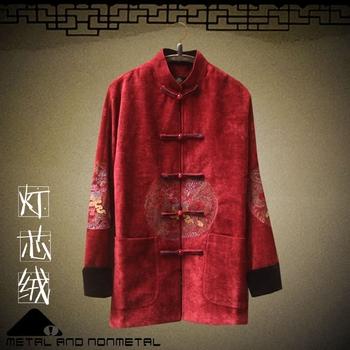 中老年人男士高档红色灯芯绒外套