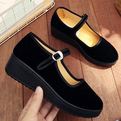 老北京布鞋女厚底坡跟黑色工作鞋职业酒店上班鞋一字扣带女鞋单鞋
