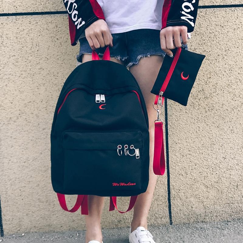 高中學生雙肩時尚女韓版原宿背包書包潮流個性
