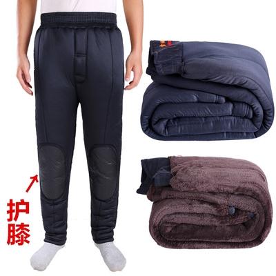 中老年男棉裤冬加绒加厚爸爸三层护膝高腰深裆宽松保暖裤加肥大码