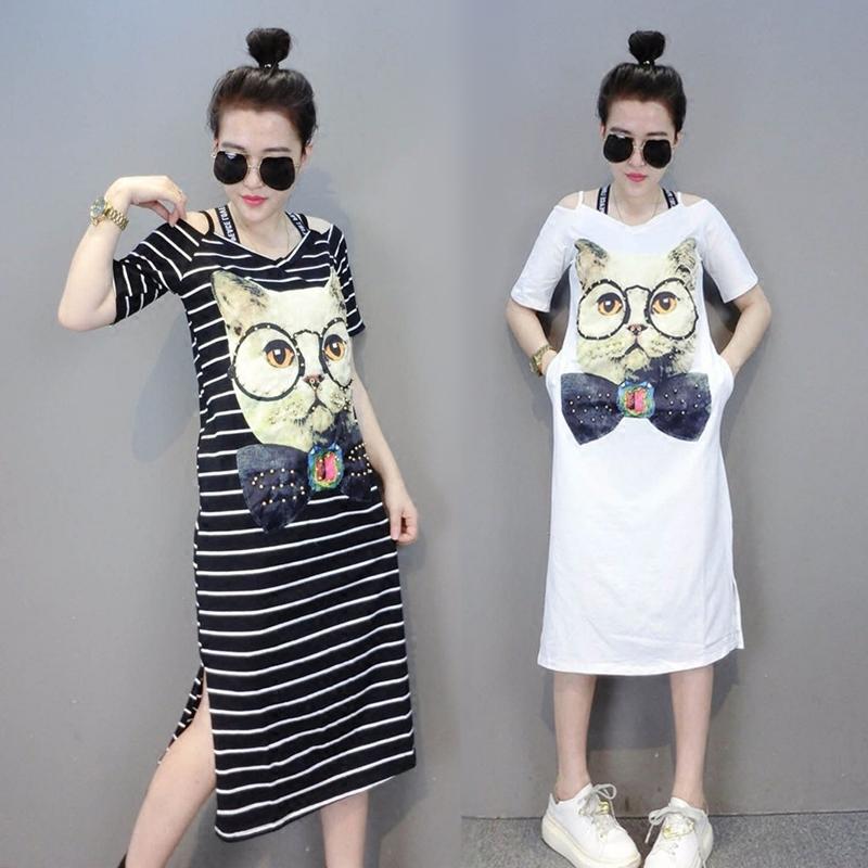韩版新款猫咪印花宽松V领吊带露肩长款过膝短袖条纹T恤连衣裙女夏